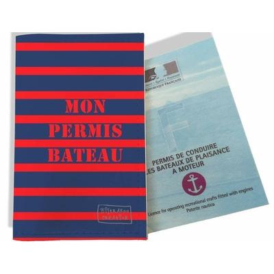 Porte permis bateau, protège permis bateau Marinière bleue et rouge 1519