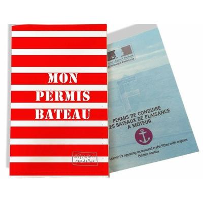 Porte permis bateau, protège permis bateau Marinière rouge et blanche 1520