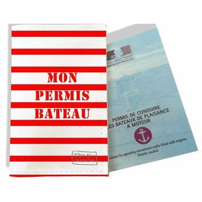 Porte permis bateau, protège permis bateau Marinière rouge 1727