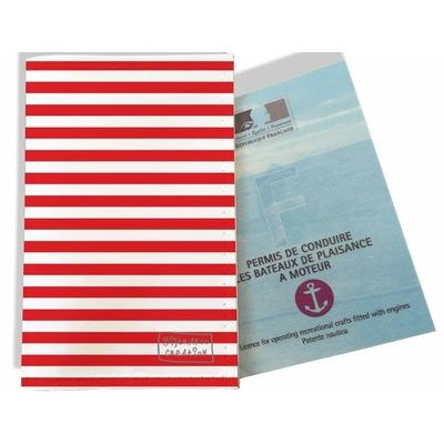 Porte permis bateau, protège permis bateau Marinière rouge 2124
