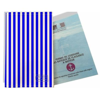 Porte permis bateau, protège permis bateau Marinière verticale Bleu 2383