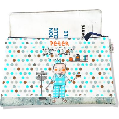Protège carnet de santé personnalisé zippé pour bébé garçon motif docteur j'ai une gastro...nomie