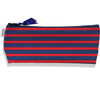 Trousse scolaire, Trousse d'école, Trousse à Crayons Marinière bleu marine et rouge 2170