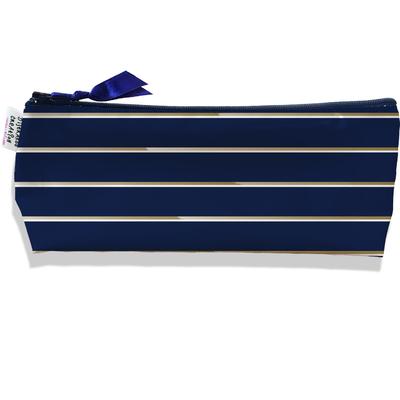 Trousse scolaire, Trousse d'école, Trousse à Crayons Petites Lignes blanches et marrons fond bleu marine 2100