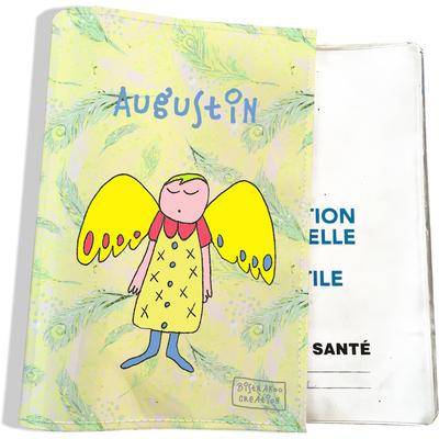 Protège carnet de santé personnalisé bébé garçon motif Ange gardien