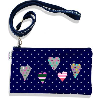 Pochette smartphone 5 & 6 pouces femme Coeurs multicolores fond bleu marine pois gris 3275