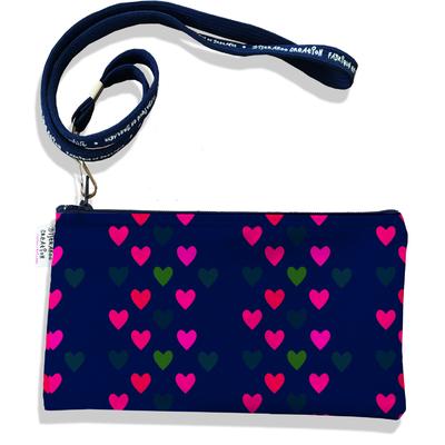Pochette smartphone 5 & 6 pouces femme Coeurs multicolores fond bleu marine 2540