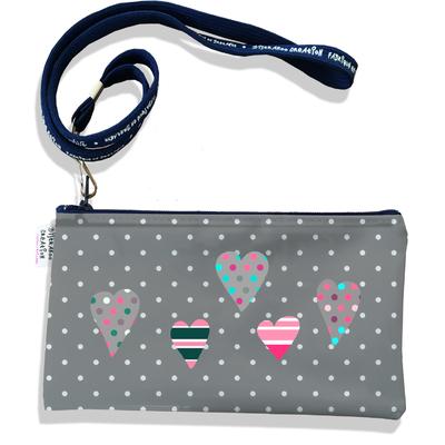 Pochette smartphone 5 & 6 pouces femme Coeurs multicolores fond gris 3276