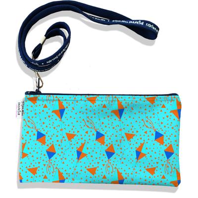 Pochette smartphone 5 & 6 pouces femme Bannières fond bleu 3088