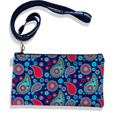 Pochette smartphone 5 & 6 pouces femme Cachemire bleu et rouge 2529