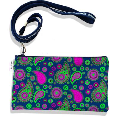 Pochette smartphone 5 & 6 pouces femme Cachemire rose et vert 2530