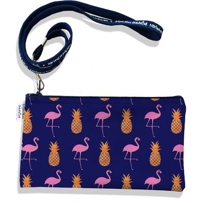 Pochette smartphone 5 & 6 pouces femme Flamants roses et ananas fond bleu marine 3218