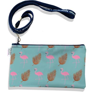 Pochette smartphone 5 & 6 pouces femme Flamants roses et plumes fond bleu 3219