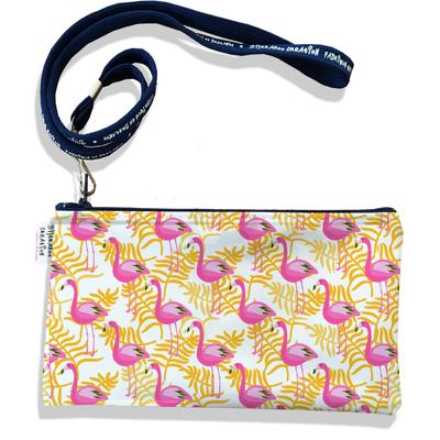 Pochette smartphone 5 & 6 pouces femme Flamants roses feuillage jaune 2543