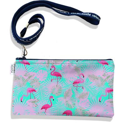 Pochette smartphone 5 & 6 pouces femme Flamants roses feuillage rose fond bleu 3116