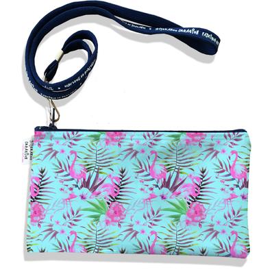 Pochette smartphone 5 & 6 pouces femme Flamants roses fond bleu 3109