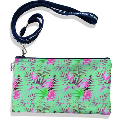 Pochette smartphone 5 & 6 pouces femme Flamants roses fond vert 3110