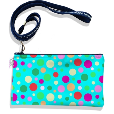 Pochette smartphone 5 & 6 pouces femme Pois multicolores fond bleu 3125