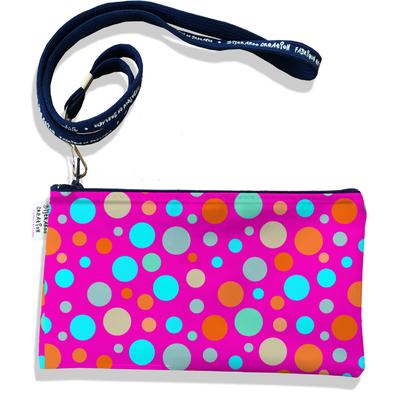 Pochette smartphone 5 & 6 pouces femme Pois multicolores fond fushia 3124