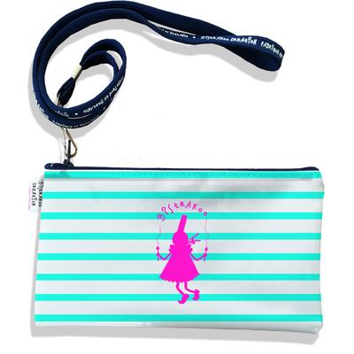 Pochette smartphone 5 & 6 pouces femme Marinière bleu ciel Bigoudène Bistrakoo fushia 2371