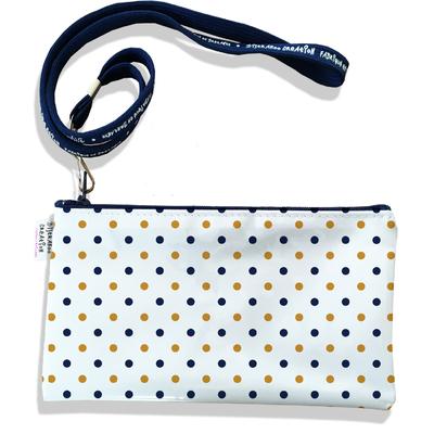 Pochette smartphone 5 & 6 pouces homme Pois or et bleu marine fond blanc 2105