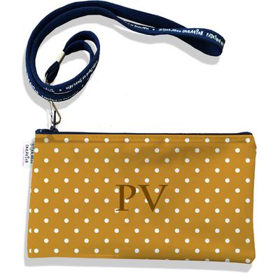 Pochette smartphone 5 & 6 pouces personnalisable homme Pois blancs fond marron P2096