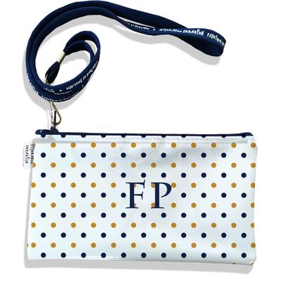 Pochette smartphone 5 & 6 pouces personnalisable homme Pois bleu marine et or fond blanc P2105