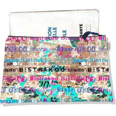 Protège carnet de santé zippé pour femme Affiche lacérée multicolore 2291