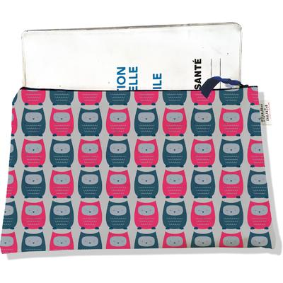 Protège carnet de santé zippé pour femme Chouettes bleues et roses fond gris 1508