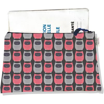 Protège carnet de santé zippé pour femme Chouettes roses et grises fond Marron 1509