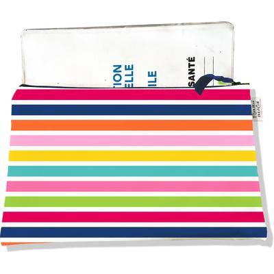 Protège carnet de santé zippé pour femme marinière multicolore 3023