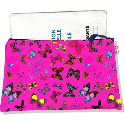 Protège carnet de santé zippé pour femme Papillons multicolores fond fushia 2426