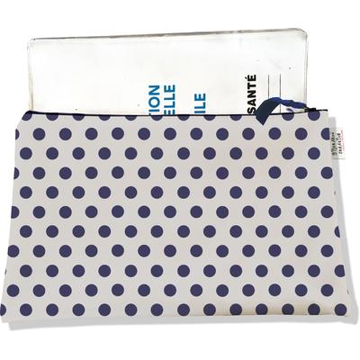 Protège carnet de santé zippé pour femme Pois bleu marine fond gris 1599