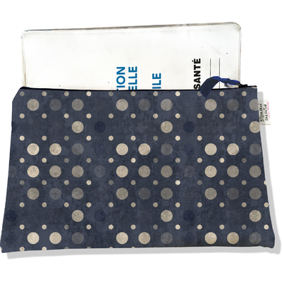 Protège carnet de santé zippé pour femme Pois gris 1600
