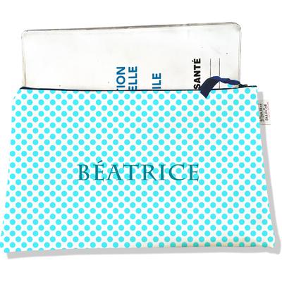Protège carnet de santé personnalisable zippé pour femme Pois bleus P714