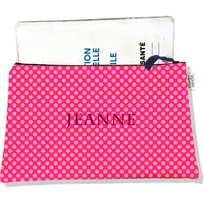 Protège carnet de santé personnalisable zippé pour femme Pois roses fond fushia 715