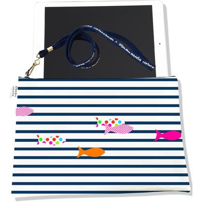 Housse pour tablette Marinière bleu marine poissons multicolores 2357-2016