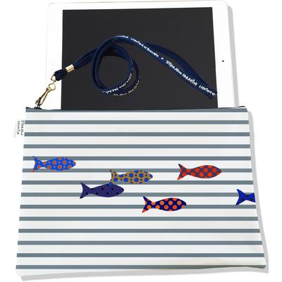 Housse pour tablette Marinière grise poissons multicolores 2588-2016