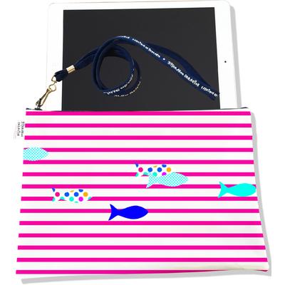 Housse pour tablette Marinière rose poissons multicolores 2431-2016