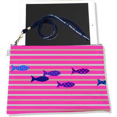Housse pour tablette Marinière rose poissons multicolores 2585-2016