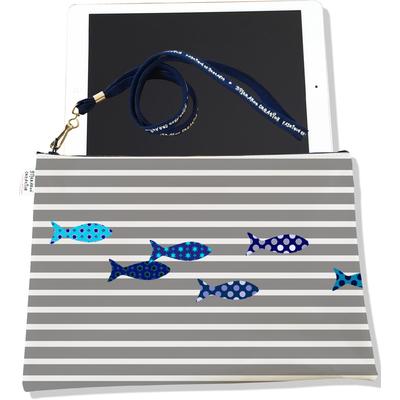 Housse pour tablette Poissons bleus marinière grise 2584