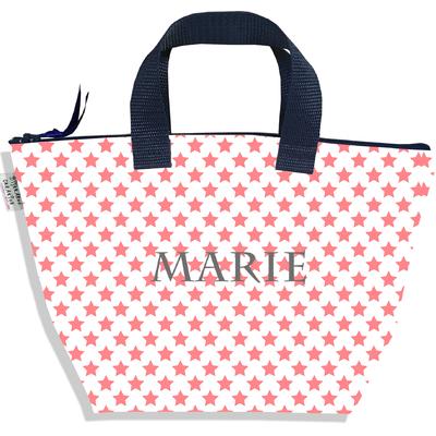 Sac à main zippé pour fille personnalisable Etoiles roses fond blanc P2089-2015