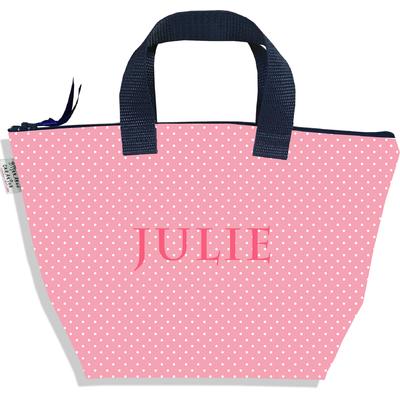 Sac à main zippé pour fille personnalisable Petits Pois blancs fond rose P2062-2015