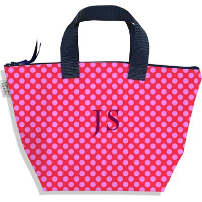 Sac à main zippé pour fille personnalisable Pois roses fond fushia P715
