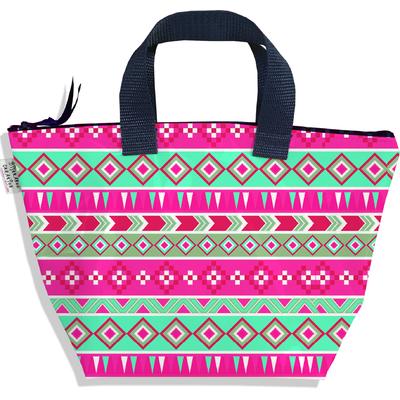 Sac à main zippé pour fille Aztec rose et vert 2317-2016