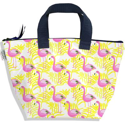 Sac à main zippé pour fille flamants roses et feuillage jaune 2541-2016