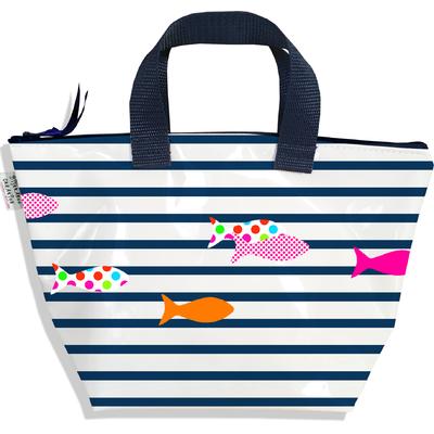 Sac à main zippé pour fille Marinière bleu marine et blanche poissons multicolores 2357-2016