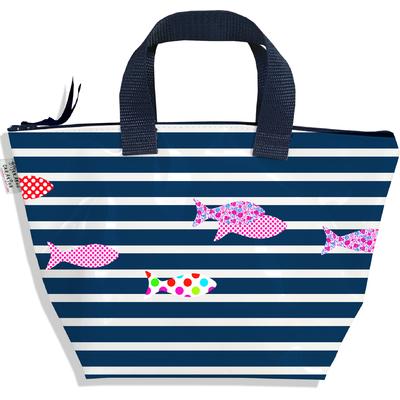 Sac à main zippé pour fille Marinière bleu marine poissons multicolores 2356-2016
