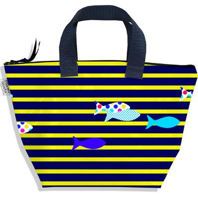 Sac à main zippé pour fille Marinière bleue et jaune poissons multicolores 2433-2016
