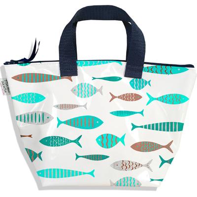 Sac à main zippé pour fille poissons bleu ciel et marron 2575-2016